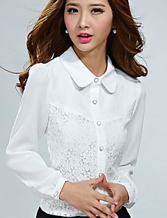 Hvit / Sort Medium Langermet,Skjortekrage Skjorte Ensfarget Vår / Sommer / Høst Enkel Formelle Kvinner