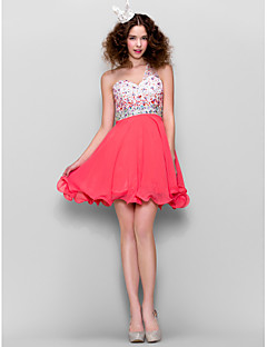 TS Couture Dress - Watermelon Plus Sizes / Petite A-line One Shoulder Short/Mini Chiffon