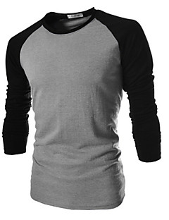 Men's Plus Size Patchwork Black/White/Dark Gray T-shirt,Casual Round Neck Long Sleeve