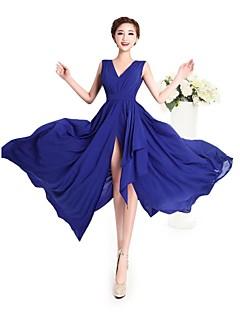 Dress Sheath/Column V-neck Floor-length Georgette