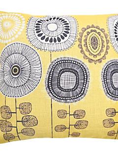 """createforlife® 18 """"jaune pissenlits picturales linge de coton coussin décoratif carré rétro"""