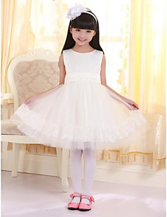 Princess Knee-length Flower Girl Dress - Cotton Sleeveless Jewel with Appliques / Bow(s)