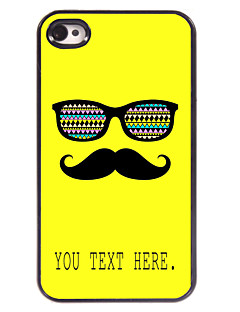 Personalized Case Mustache and Glasses Design Metal Case for iPhone 4/4S