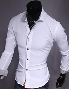 Herren Hemd-Einfarbig Freizeit Baumwolle / Polyester Lang Schwarz / Rosa / Weiß