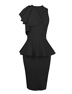 dámská černá kulatý límec čistý patchwork prohrábnout štíhlý midi šaty