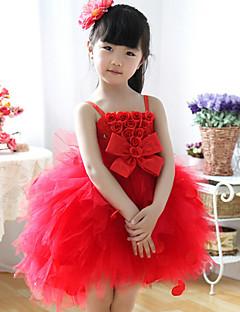 Rochie de mireasa rochie lunga rochie fata rochie - bumbac mâneci fără bretele cu arc (e)