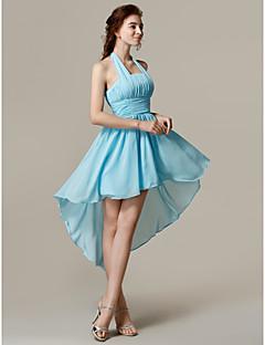 Brautjungfernkleid - Blau Chiffon - A-Linie - asymmetrisch - Neckholder