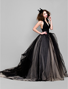 Honeymoon/Cocktail Party/Formal Evening/Wedding Party/Holiday Dress - Black Ball Gown V-neck Floor-length Tulle