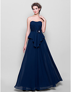 Lanting Bride® Floor-length Chiffon Bridesmaid Dress A-line Strapless Plus Size / Petite with Beading / Criss Cross