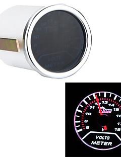 """2"""" 52mm 0-18V Motor Car Voltage Gauge Universal Smoke Lens Indicator White Auto Voltemter"""