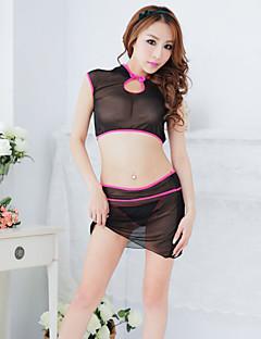 Sexy See-Through noir et rose Polyester cheongsam uniforme (3 Pieces)
