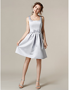 Lanting Bride® Knee-length Satin Bridesmaid Dress - A-line Square Plus Size / Petite with Bow(s) / Sash / Ribbon