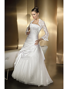 A-line Wedding Dress Floor-length Sweetheart Satin Chiffon