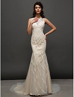Lanting Bride® Trumpet / Mermaid Wedding Dress Wedding Dresses in Color Court Train Jewel Tulle with