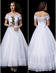 A-line/Princess Wedding Dress - White Ankle-length Off-the-shoulder Lace/Tulle