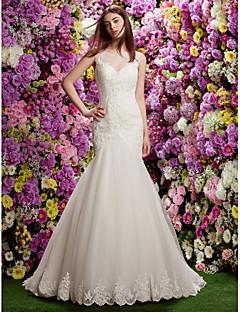 Lanting Bride® 트럼펫 / 머메이드 퍼티트 웨딩 드레스 시쓰루 코트 트레인 쥬얼리 레이스 와