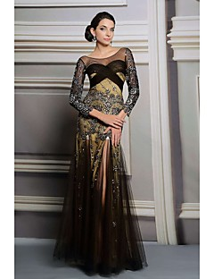 Онлайн одно плечо длиной до пола, вечернее платье (31225)