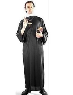 Traje de Halloween dos homens Priest Preto Poliéster com a cruz de plástico