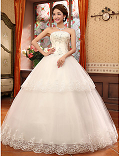 Ball Gown Strapless Lace Floor-length Wedding Dress