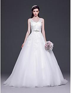 A-line,Princess Sweep/Brush Train Wedding Dress -V-neck Tulle