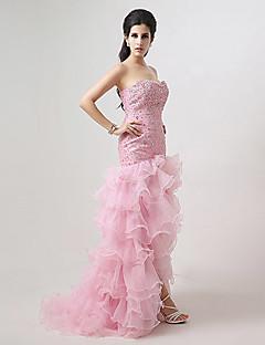 Sheath/Column Sweetheart Asymmetrical Evening Dress