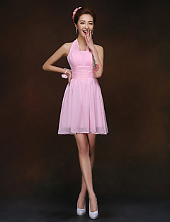 Short/Mini Bridesmaid Dress - Blushing Pink Sheath/Column Halter
