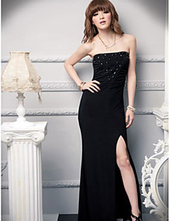 Ankle-length Silk Bridesmaid Dress - Grape / Black Ball Gown Sweetheart