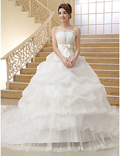 Ball Gown Wedding Dress-Chapel Train Strapless Organza