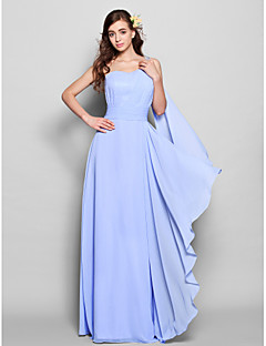 Lanting Bride Floor-length / Watteau Train Chiffon Bridesmaid Dress Sheath / Column One Shoulder Plus Size / Petite withBeading / Crystal