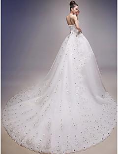 웨딩 드레스 볼 가운 바닥 길이 튜브탑