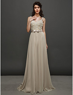 Lan Ting A-line Wedding Dress Sweep/Brush Train Straps Chiffon / Lace