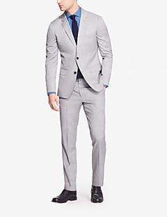 Suits Moderno Notch/ Paletó Fino Comum 2 Butões Lã / Poliéster / Cashmere 2 Peças Cinza Claro