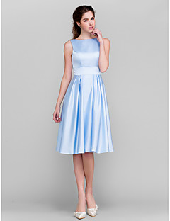 Lanting Bride® Knee-length Satin Bridesmaid Dress A-line / Princess Bateau Plus Size / Petite with Bow(s) / Pockets / Sash / Ribbon