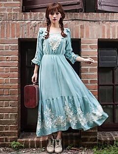 Robe Aux femmes Trapèze Vintage / Soirée / Mignon , Imprimé Collerette Midi Mélanges de Coton