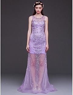 저녁 정장파티 드레스 - 라일락 시스/컬럼 바닥 길이 스쿱 명주그물