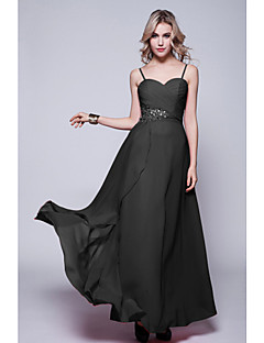 Formal Evening Dress Plus Size Sheath / Column Spaghetti Straps Floor-length Chiffon with Criss Cross / Sequins