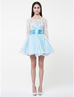 Mini laço do baile vestido de baile jóia curto / e organza vestido de cocktail