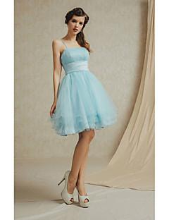Knee-length Lace / Satin Bridesmaid Dress - White / Champagne / Sky Blue / Lilac / Sage A-line Spaghetti Straps
