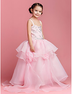 Flower Girl Dress - Baile Longo Sem Mangas Organza