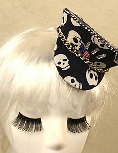 svart hodeskalle mønster gotisk stil mini hat kvinners karneval headpiece