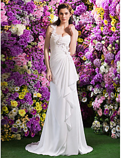 Lan Ting Trumpet/Mermaid Wedding Dress - Ivory Court Train One Shoulder Satin Chiffon