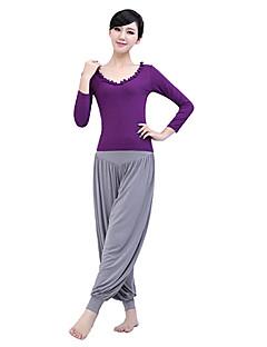 Mulheres Ioga tops Manga Comprida Respirável / Vestível / wicking / Compressão RoxoIoga / Fitness / Esportes Relaxantes / Badminton /