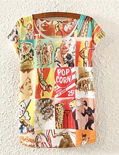 여성의 플로럴 라운드 넥 짧은 소매 티셔츠,귀여운 데이트 멀티 색상 면 사계절 중간