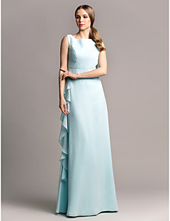 Lanting Bride® Floor-length Chiffon Bridesmaid Dress Sheath / Column Scoop Plus Size / Petite with Side Draping / Cascading Ruffles