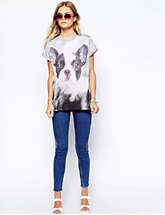 여성의 프린트 크루넥 짧은 소매 티셔츠,심플 캐쥬얼/데일리 멀티 색상 봄 얇음
