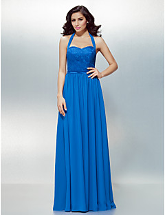 TS Couture® Formal Evening Dress Plus Size / Petite A-line Halter Floor-length Chiffon / Lace with Lace / Sash / Ribbon