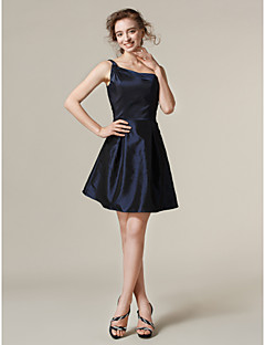 Lanting Bride® Short / Mini Taffeta Bridesmaid Dress A-line / Princess One Shoulder Plus Size / Petite with
