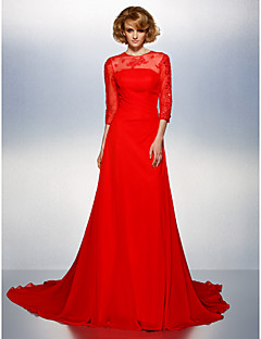 Prom / Formal Evening Dress - Ruby Plus Sizes / Petite A-line Jewel Court Train Chiffon