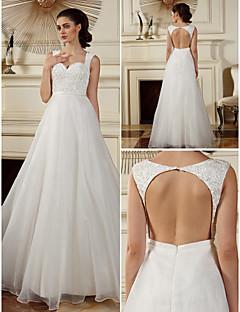 lanting는 몸집이 작은 A 라인 / 공주 신부 / 플러스 웨딩 드레스 바닥 길이 스트랩 오간자 크기