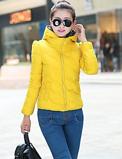 Women's Red/Black/Yellow Down Coat , Casual Long Sleeve